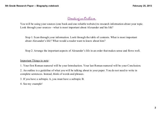 biography research paper outline