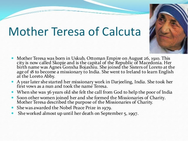 Mother Teresa Essay