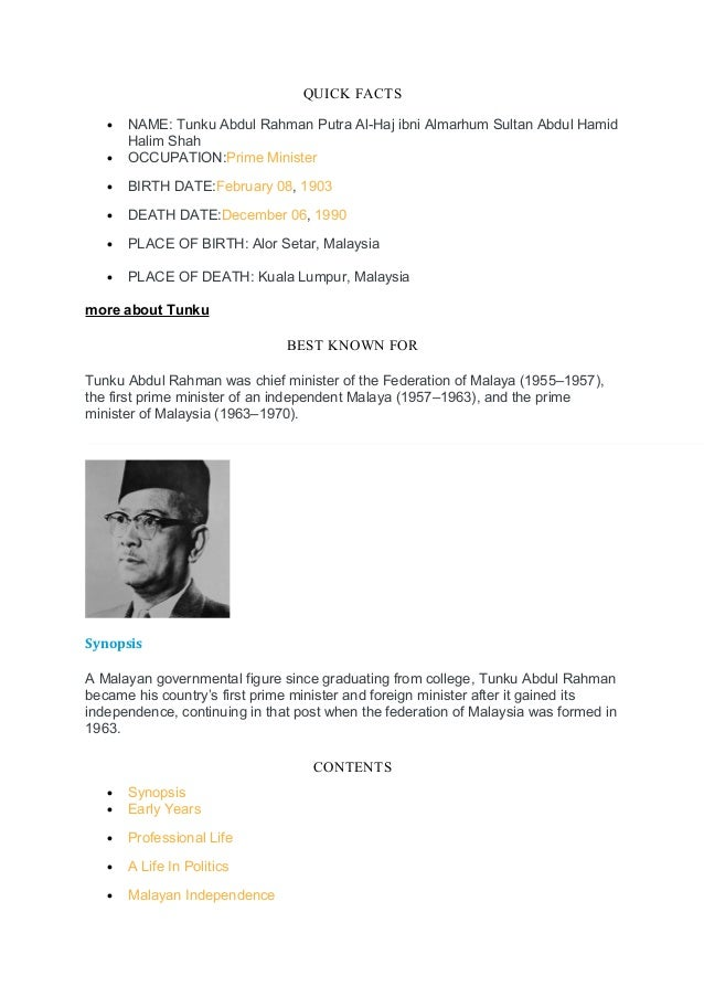 Tunku abdul razak biography