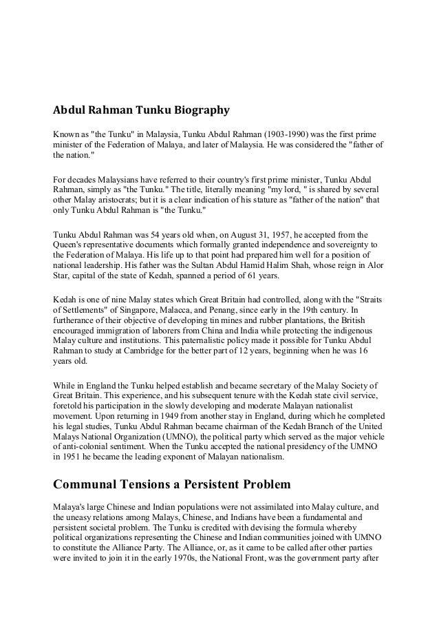 tunku abdul razak biography Abdul razak hussein's wiki: tun haji abdul razak bin dato' haji hussein (jawi: tun razak succeeded tunku abdul rahman putra as the prime minister of malaysia.