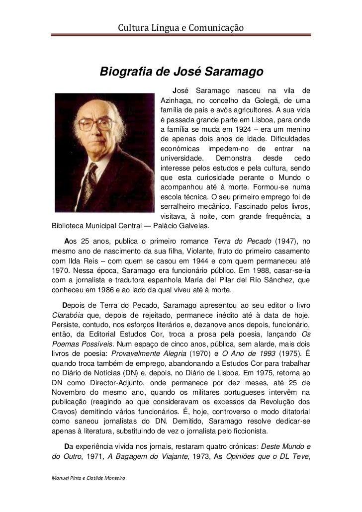 Cultura Língua e Comunicação                    Biografia de José Saramago                                      José Saram...
