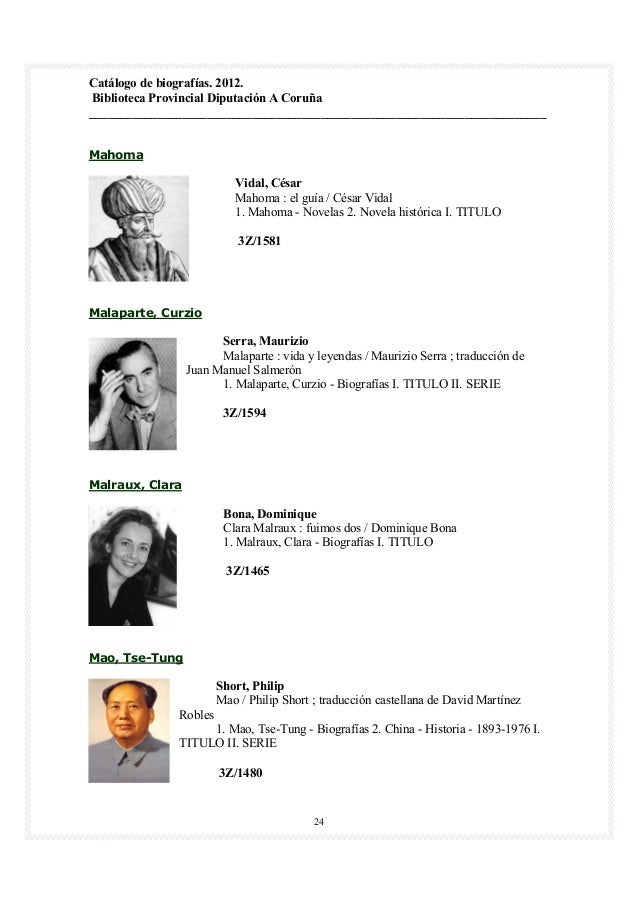 Catálogo de biografías. 2012.Biblioteca Provincial Diputación A Coruña____________________________________________________...