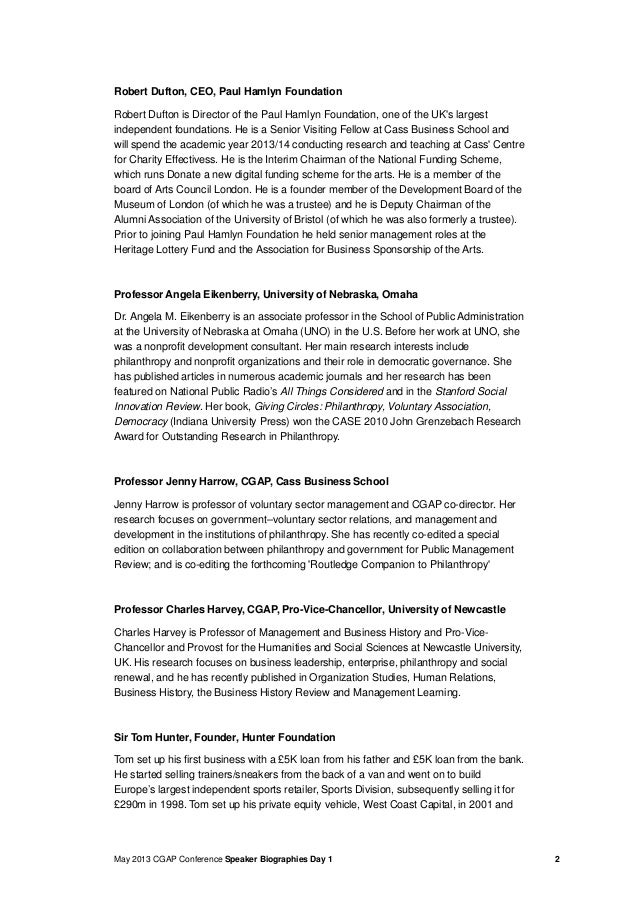 May 2013 CGAP Conference Speaker Biographies Day 1 2Robert Dufton, CEO, Paul Hamlyn FoundationRobert Dufton is Director of...