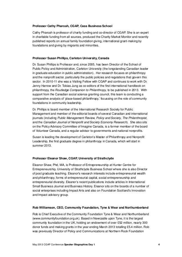 May 2013 CGAP Conference Speaker Biographies Day 1 4Professor Cathy Pharoah, CGAP, Cass Business SchoolCathy Pharoah is pr...