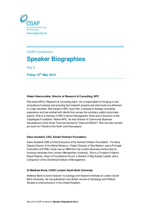 May 2013 CGAP Conference Speaker Biographies Day 2CGAP ConferenceSpeaker BiographiesDay 2Friday 10thMay 2013Robert Abercro...