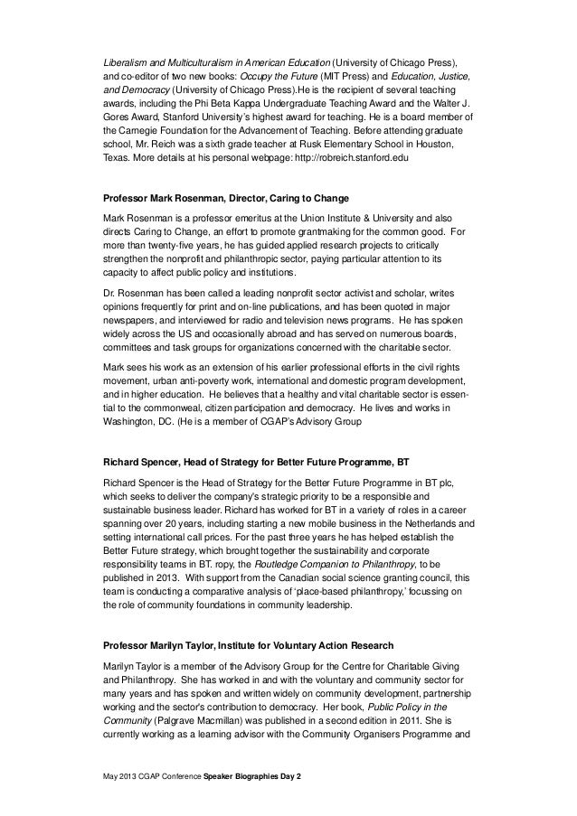 May 2013 CGAP Conference Speaker Biographies Day 2Liberalism and Multiculturalism in American Education (University of Chi...