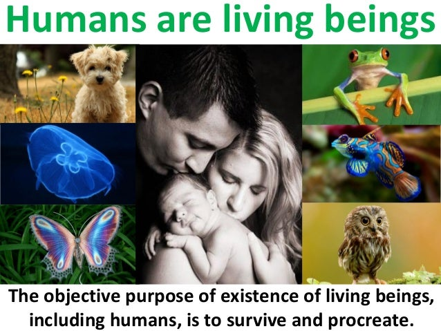 Humans are living beings The objective purpose of existence of living beings, including humans, is to survive and procreat...