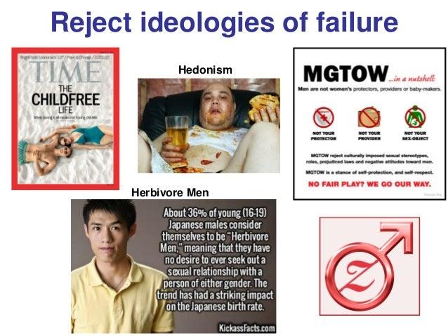 Reject ideologies of failure Hedonism Herbivore Men