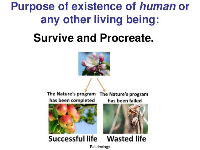 Bioideology Purpose of existence of human or any other living being: Survive and Procreate.