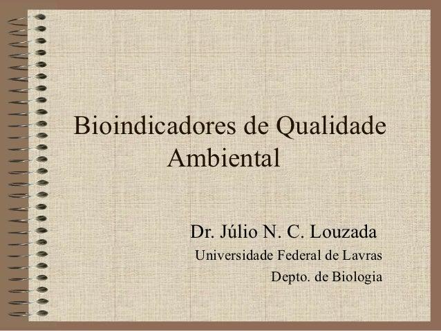 Bioindicadores de Qualidade        Ambiental          Dr. Júlio N. C. Louzada          Universidade Federal de Lavras     ...
