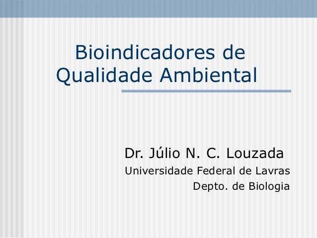 Bioindicadores deQualidade Ambiental      Dr. Júlio N. C. Louzada      Universidade Federal de Lavras                  Dep...