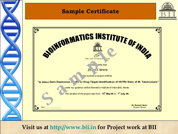 Bioinformatics project training for 246 month 17 sample certificate yadclub Images