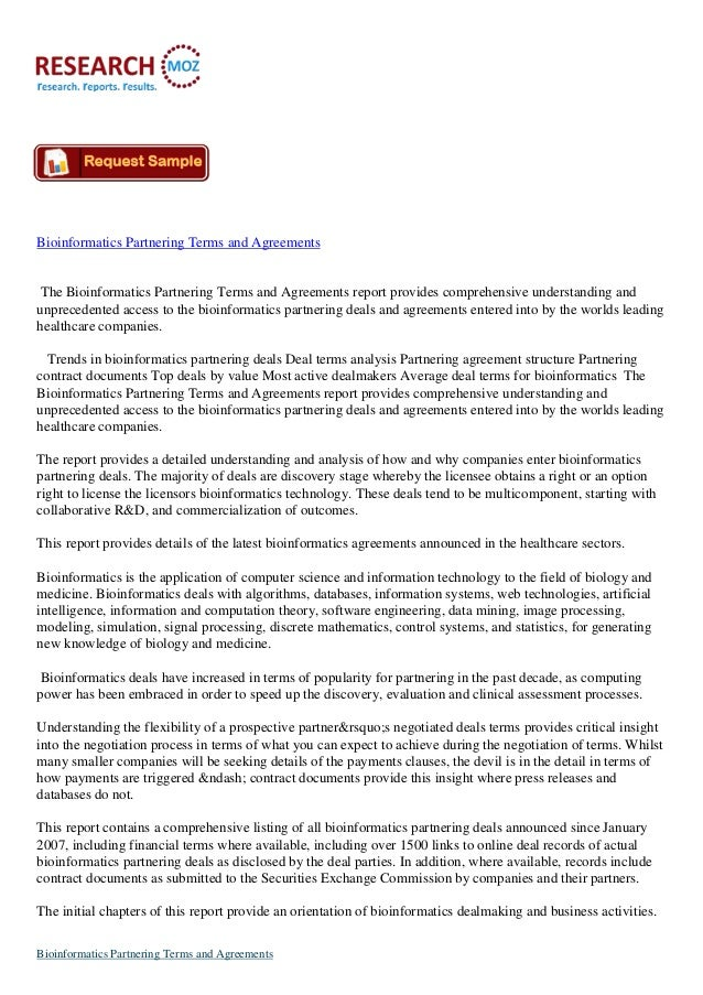Bioinformatics Partnering Terms and Agreements The Bioinformatics Partnering Terms and Agreements report provides comprehe...