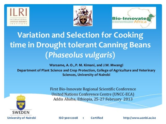 Variation and Selection for Cooking time in Drought tolerant Canning Beans           (Phaseolus vulgaris)                 ...
