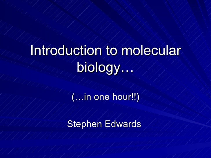 Introduction to molecular biology… (…in one hour!!) Stephen Edwards