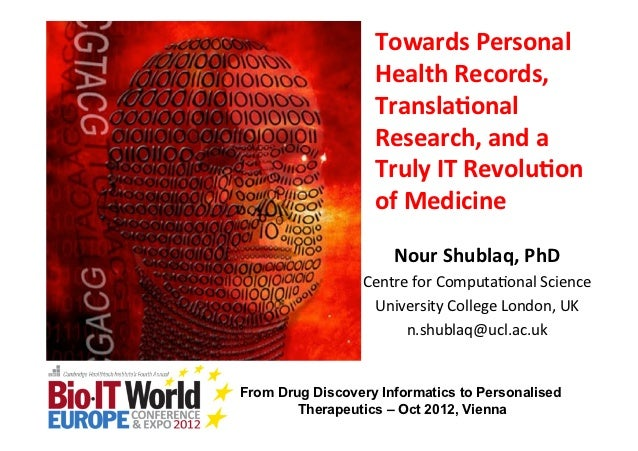 Towards Personal                    Health Records,                    Transla3onal                    Research,...