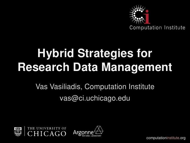 Hybrid Strategies forResearch Data Management  Vas Vasiliadis, Computation Institute         vas@ci.uchicago.edu          ...