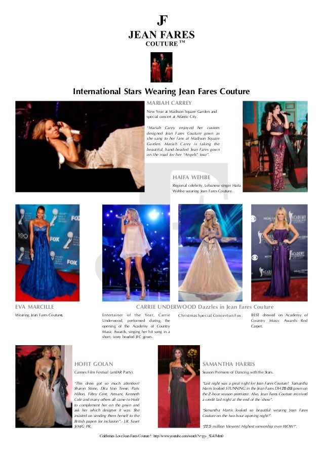 International Stars Wearing Jean Fares Couture MARIAH CARREY New Year at Madison Square Garden and special concert at Atla...
