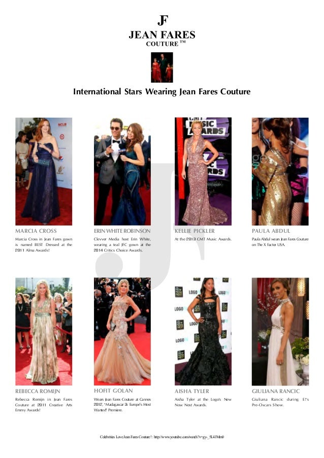 International Stars Wearing Jean Fares Couture ERINWHITEROBINSON Clevver Media host Erin White, wearing a teal JFC gown at...