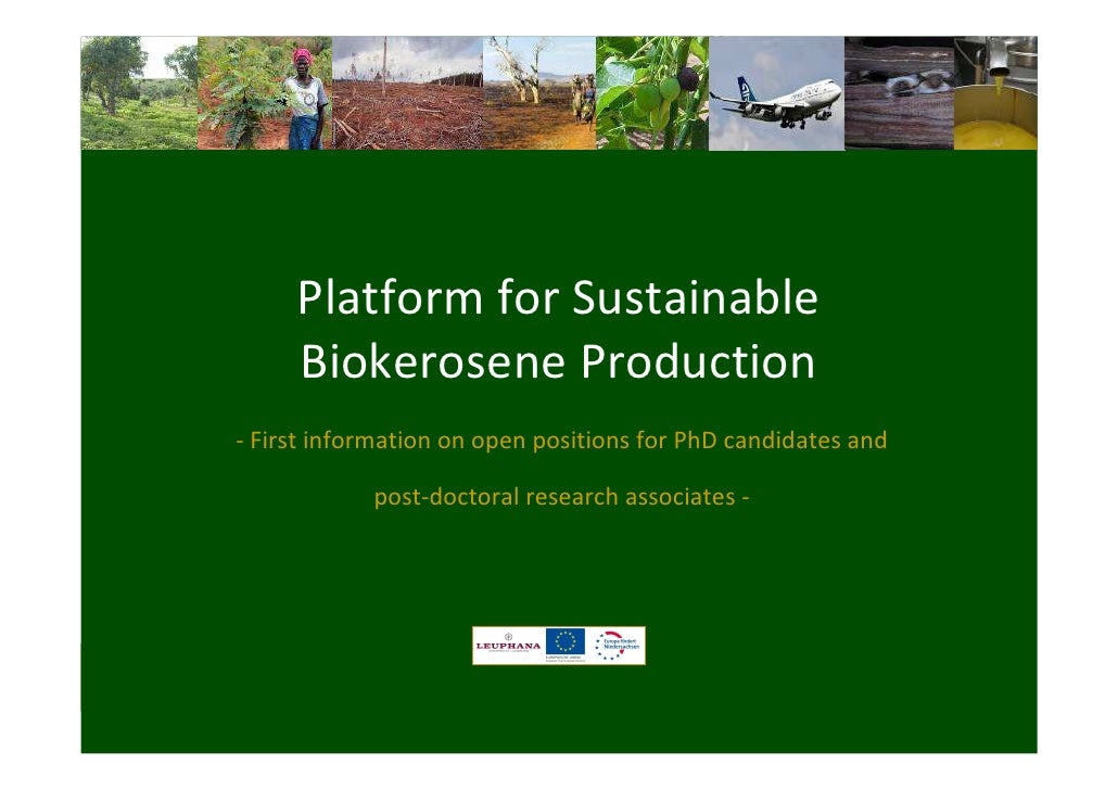 Platform for Sustainable     Biokerosene Production- First information on open positions for PhD candidates and           ...