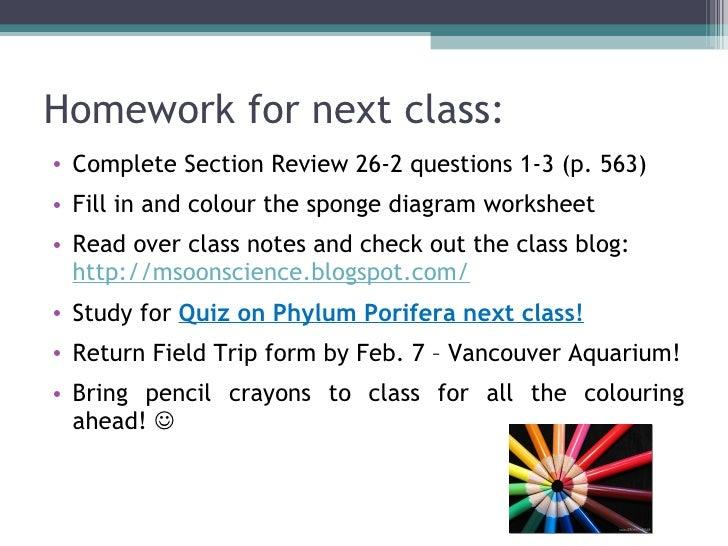 Biol 11 Lesson 2 Feb 3 - Ch 26 Phylum Porifera (Sponges)