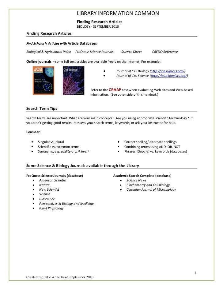 LIBRARY INFORMATION COMMON                                   Finding Research Articles                                   B...