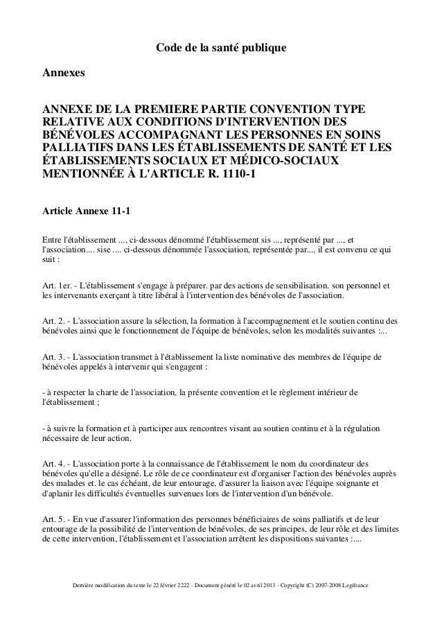 Code de la santé publiqueAnnexesANNEXE DE LA PREMIERE PARTIE CONVENTION TYPERELATIVE AUX CONDITIONS DINTERVENTION DESBÉNÉV...