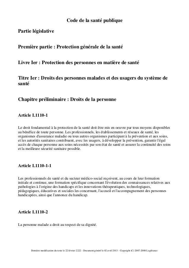 Code de la santé publiquePartie législativePremière partie : Protection générale de la santéLivre Ier : Protection des per...