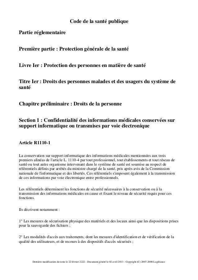 Code de la santé publiquePartie réglementairePremière partie : Protection générale de la santéLivre Ier : Protection des p...