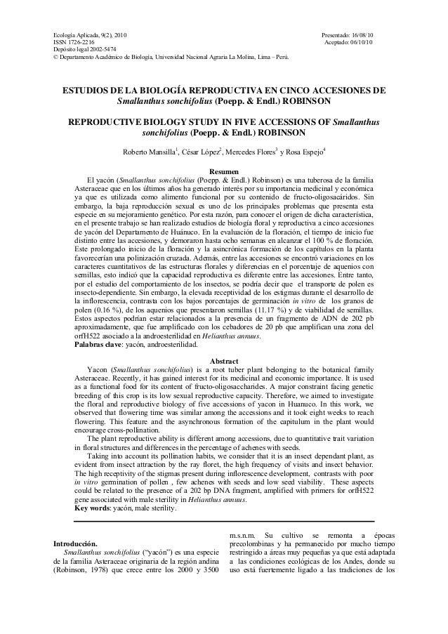Ecología Aplicada, 9(2), 2010 Presentado: 16/08/10 ISSN 1726-2216 Aceptado: 06/10/10 Depósito legal 2002-5474 © Departamen...