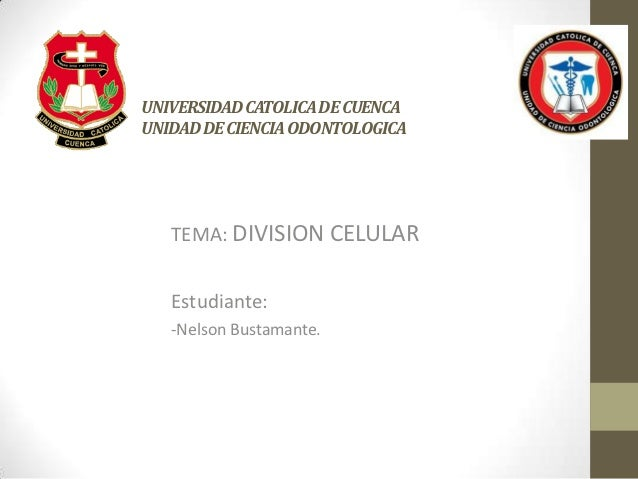 UNIVERSIDAD CATOLICA DE CUENCAUNIDAD DE CIENCIA ODONTOLOGICA   TEMA: DIVISION CELULAR   Estudiante:   -Nelson Bustamante.