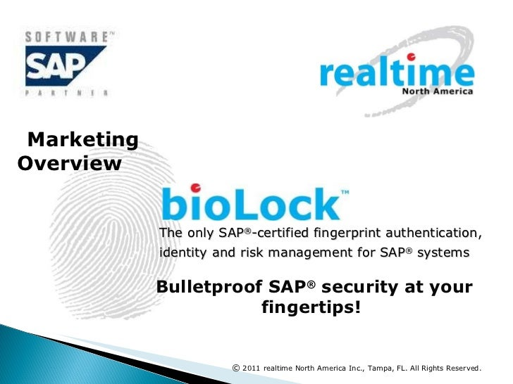The only SAP ® -certified fingerprint authentication, identity and risk management for SAP ®  systems   Bulletproof SAP ® ...