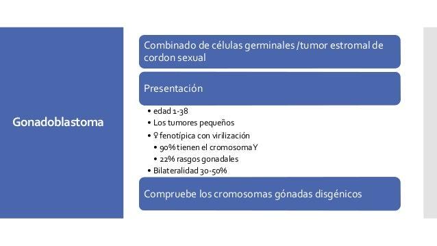 Marcadores tumorales: Deshidrogenasa láctica (DHL) 95-200 U/L en los disgerminomas los valores se elevan. La alfa-fetoprot...