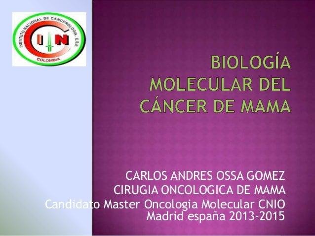 CARLOS ANDRES OSSA GOMEZ CIRUGIA ONCOLOGICA DE MAMA Candidato Master Oncologia Molecular CNIO Madrid españa 2013-2015