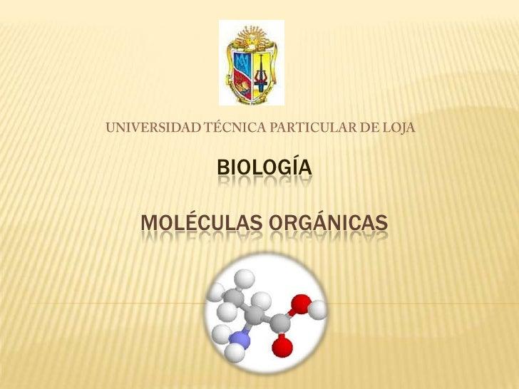 UNIVERSIDAD TÉCNICA PARTICULAR DE LOJA<br />BIOLOGÍAMOLÉCULAS ORGÁNICAS<br />
