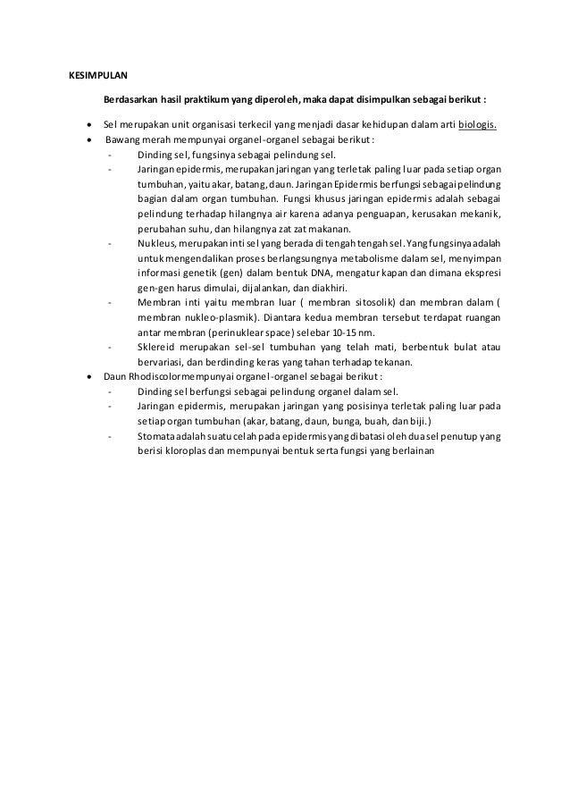 Laporan Hasil Praktikum Biologi Struktur Sel