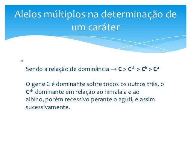 Alelos múltiplos na determinação de             um caráter  Sendo a relação de dominância → C > Cch > Ch > Ca  O gene C é ...