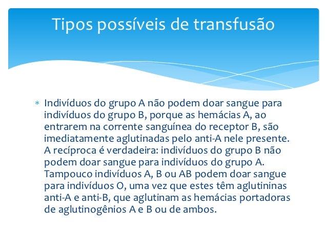 Tipos possíveis de transfusãoIndivíduos do grupo A não podem doar sangue paraindivíduos do grupo B, porque as hemácias A, ...