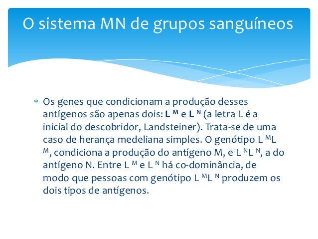 O sistema MN de grupos sanguíneos  Os genes que condicionam a produção desses  antígenos são apenas dois: L M e L N (a let...