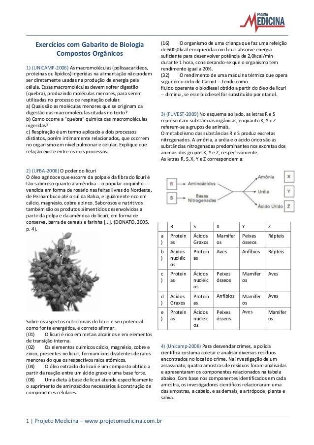 1   Projeto Medicina – www.projetomedicina.com.br  Exercícios com Gabarito de Biologia  Compostos Orgânicos  1) (UNICAMP-2...