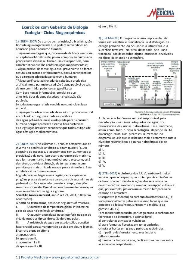 1 | Projeto Medicina – www.projetomedicina.com.br Exercícios com Gabarito de Biologia Ecologia - Ciclos Biogeoquímicos 1) ...