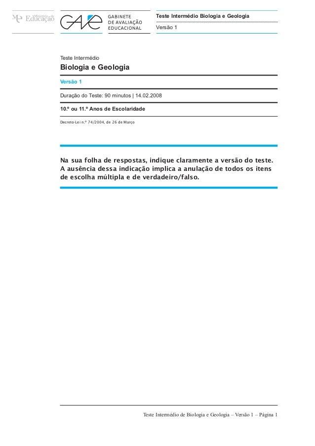 Teste Intermédio  Biologia e Geologia  Versão 1  Teste Intermédio Biologia e Geologia  Versão 1  Duração do Teste: 90 minu...