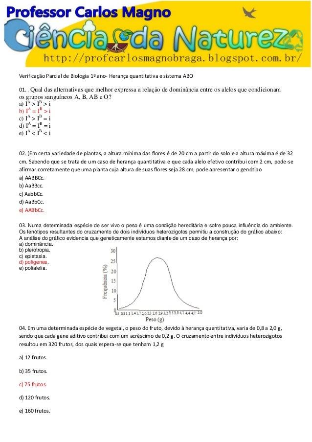 Verificação Parcial de Biologia 1º ano- Herança quantitativa e sistema ABO 01. . Qual das alternativas que melhor expressa...