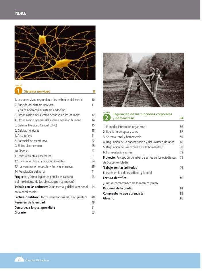 ÍNDICEUnidad  1      Sistema nervioso                                      81. Los seres vivos responden a los estímulos d...