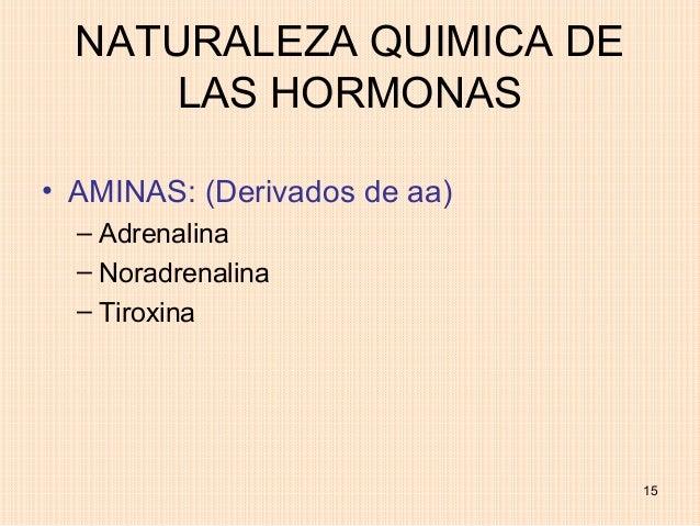 NATURALEZA QUIMICA DE      LAS HORMONAS• AMINAS: (Derivados de aa)  – Adrenalina  – Noradrenalina  – Tiroxina             ...