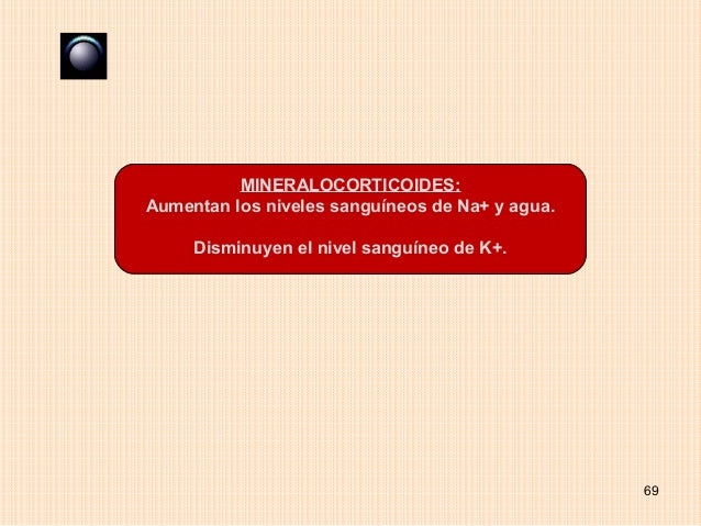 MINERALOCORTICOIDES:Aumentan los niveles sanguíneos de Na+ y agua.     Disminuyen el nivel sanguíneo de K+.               ...