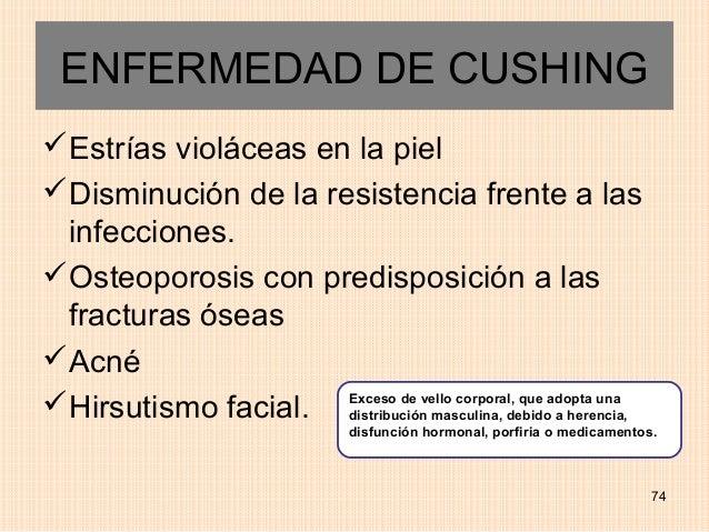 ENFERMEDAD DE CUSHINGEstrías violáceas en la pielDisminución de la resistencia frente a las infecciones.Osteoporosis co...