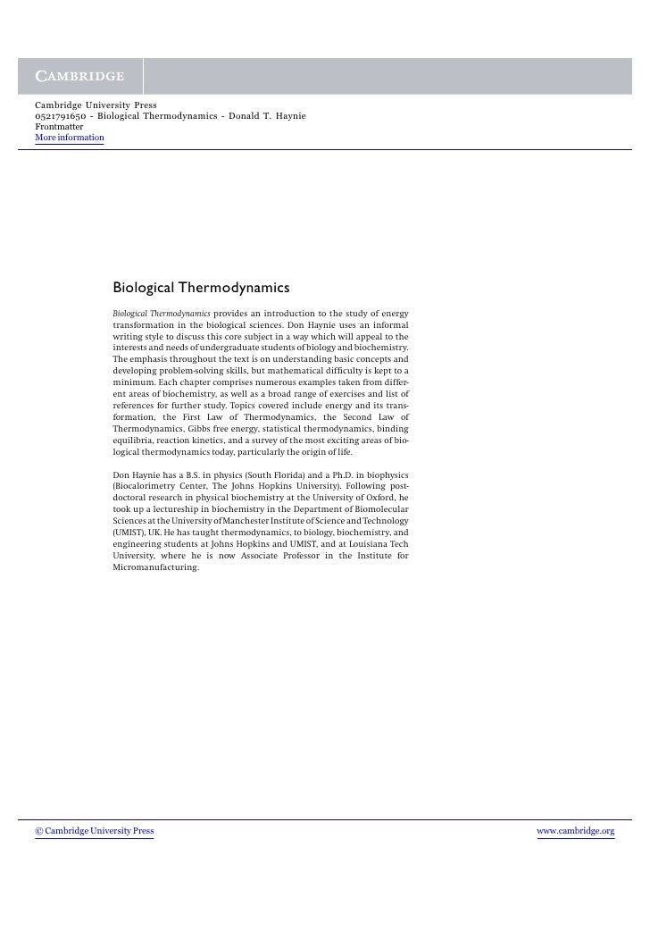 Cambridge University Press 0521791650 - Biological Thermodynamics - Donald T. Haynie Frontmatter More information         ...