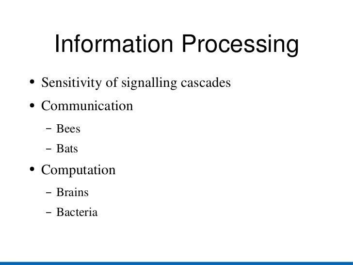 Information Processing <ul><li>Sensitivity of signalling cascades </li></ul><ul><li>Communication </li></ul><ul><ul><li>Be...