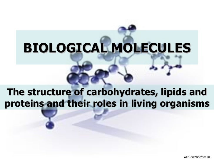 BIOLOGICAL MOLECULESThe structure of carbohydrates, lipids andproteins and their roles in living organisms                ...